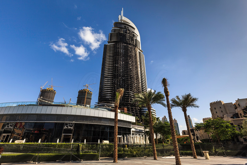 DUBAI - JANUARY 6: The address hotel caught fire on the new years eve. This is the aftermath few days after as seen on January 6, 2016. The reconstruction work has already started.