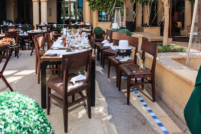 DUBAI - JANUARY 1: The address hotel caught fire on the new years eve. This is the aftermath the next day which shows restaurant where people escaped and left their food as seen on January 1, 2016.