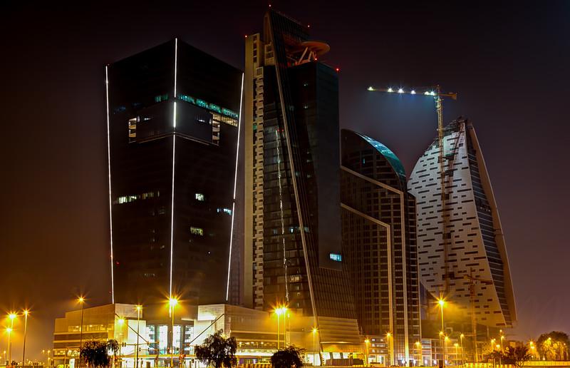 Business bay at night.