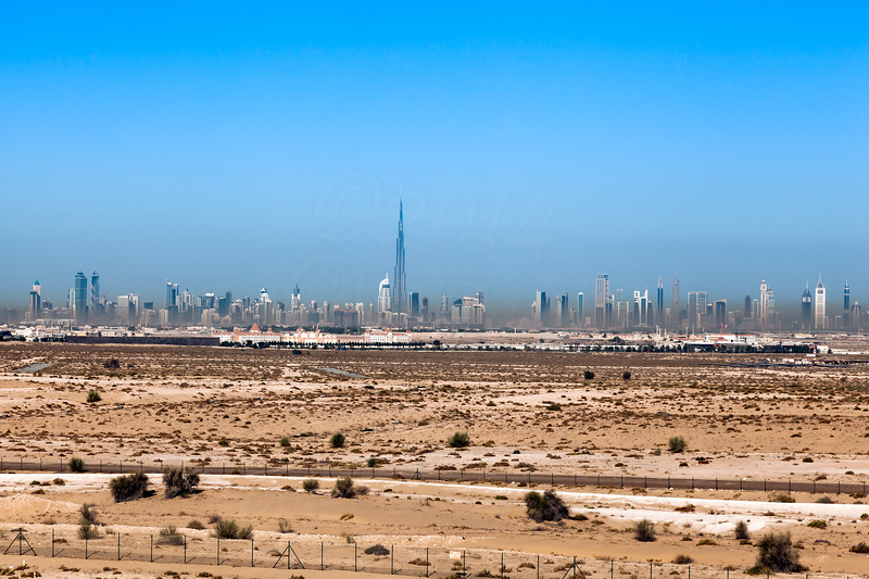 Temperature inversion layer covering Dubai downtown and Burj Khalifa.