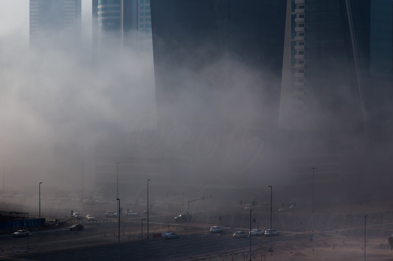 Fog in Business Bay.