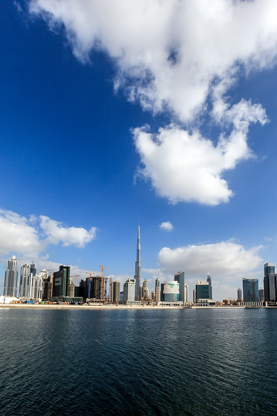 Reflection of business bay and downtown area of Dubai.