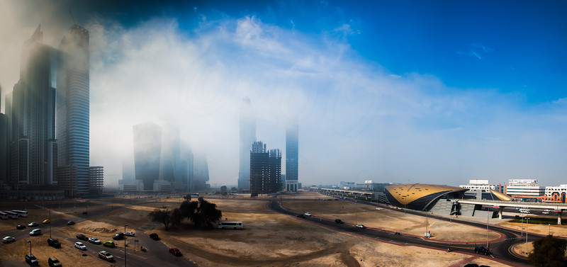 Another foggy day in Dubai, Business Bay Panaroma.