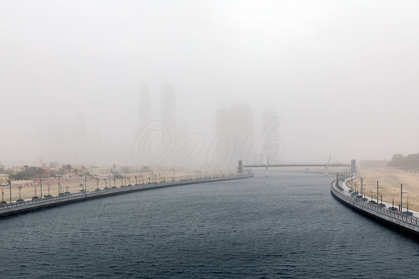 Dubai Canal in a sand stormy day