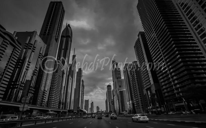 B&W version of Sheikh Zayed Road.