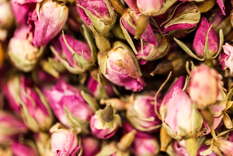 Macro shot of dried roses as captured in Dubai's Spice Souq.