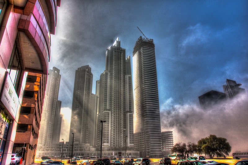 Business Bay, Executive Towers, on a foggy morning, HDR.