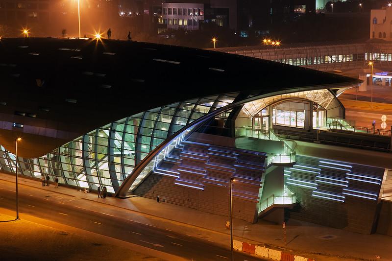 Business Bay Metro Station at Night.