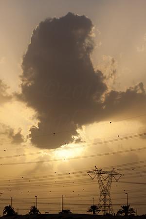 Rays of light in Dubai sunset.