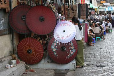 Parasol Vendor, Bogyoke Aung San Market (Scott Market) Rangoon