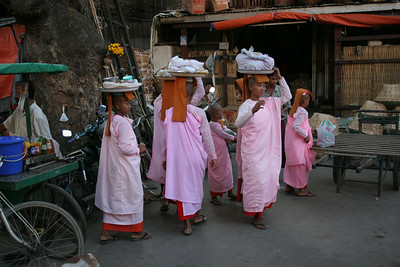 Nuns collecting alms, Mandalay