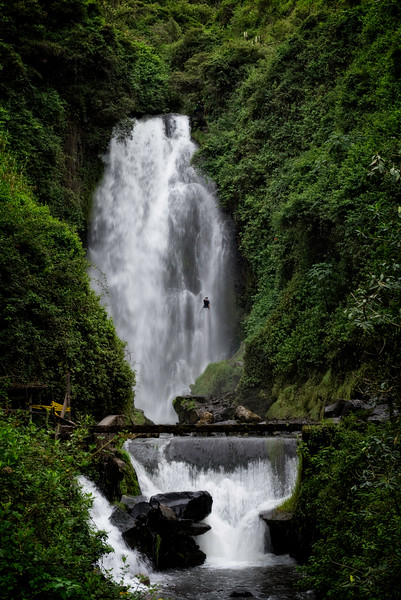 Repelling the Peguche Waterfall
