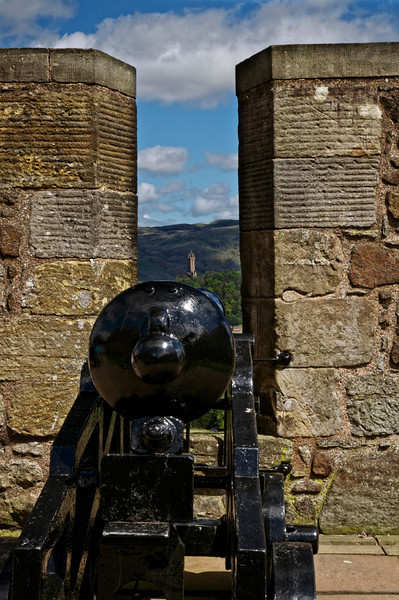 Stirling Castel looking down the cannon to william wallace monument Stirling Scotland