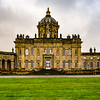 Castle Howard  front elevation looking North, North Yorkshire, England. Private residence in left wing, with right wing and ballroom open to public.
