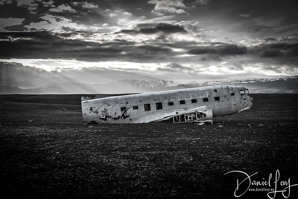 B&W - DC3 crash site in South Iceland