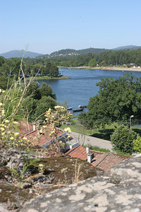 The View from Valença, Portugal, across the Minho river to Spain.