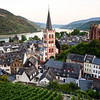 Bacharach, Germany looking south up the Rhine River from the Postenturm tower area.