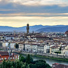 Florence at sunset from Piazzale Michelangelo.  Ponte vecchio bridge and Florence Cathedral with Brunelleschi's dumo.