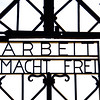 Dachau Concentration camp, The gate at the Jourhaus building through which the prisoner's camp was entered contains the slogan, Arbeit macht frei, or 'Work will make you free. - first concentration camp opened in Germany 1933