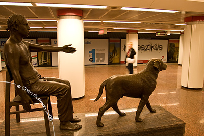 Statue at one of M2 metro stations. Budapest, Hungary, 2008.