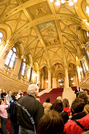 Another view at the Entrance hall of parliament house. Budapest, Hungary, 2008.