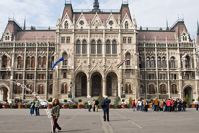 Moran and the house of parliament. Budapest, Hungary, 2008.