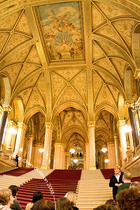 Entrance hall of parliament house. Budapest, Hungary, 2008.