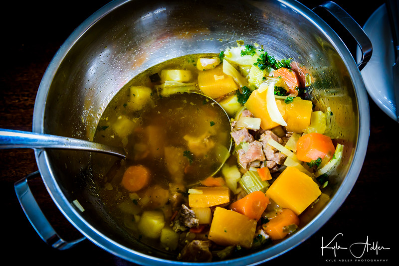The Settlement Center's kitchen produces a fine Icelandic meat soup, a staple dish in Iceland.