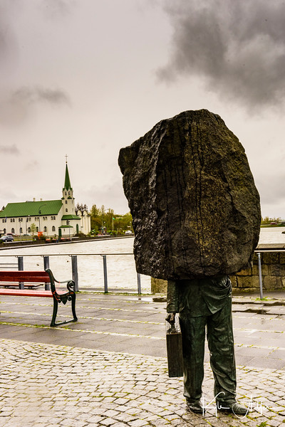 Reykjavik is overflowing with street art.  This one is the aptly named Statue of the Unknown Businessman.