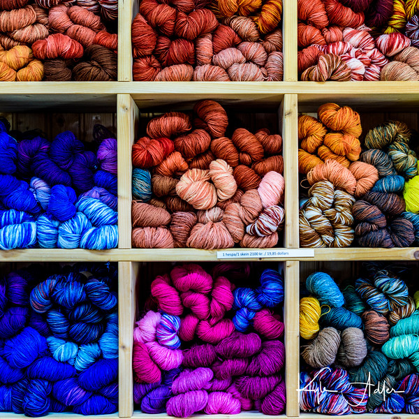 Remarkable palette of wool colors, all of them dyed using natural, and mostly local, products.
