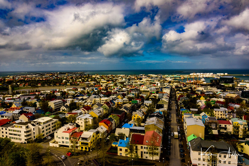 Stunning view from the top of the tower at Hallgrimskirkja Church.