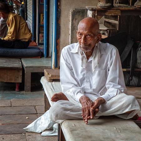Old man on streets of Delhi