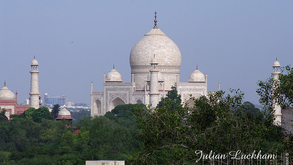 first sight of the Taj from the roof of my hotel