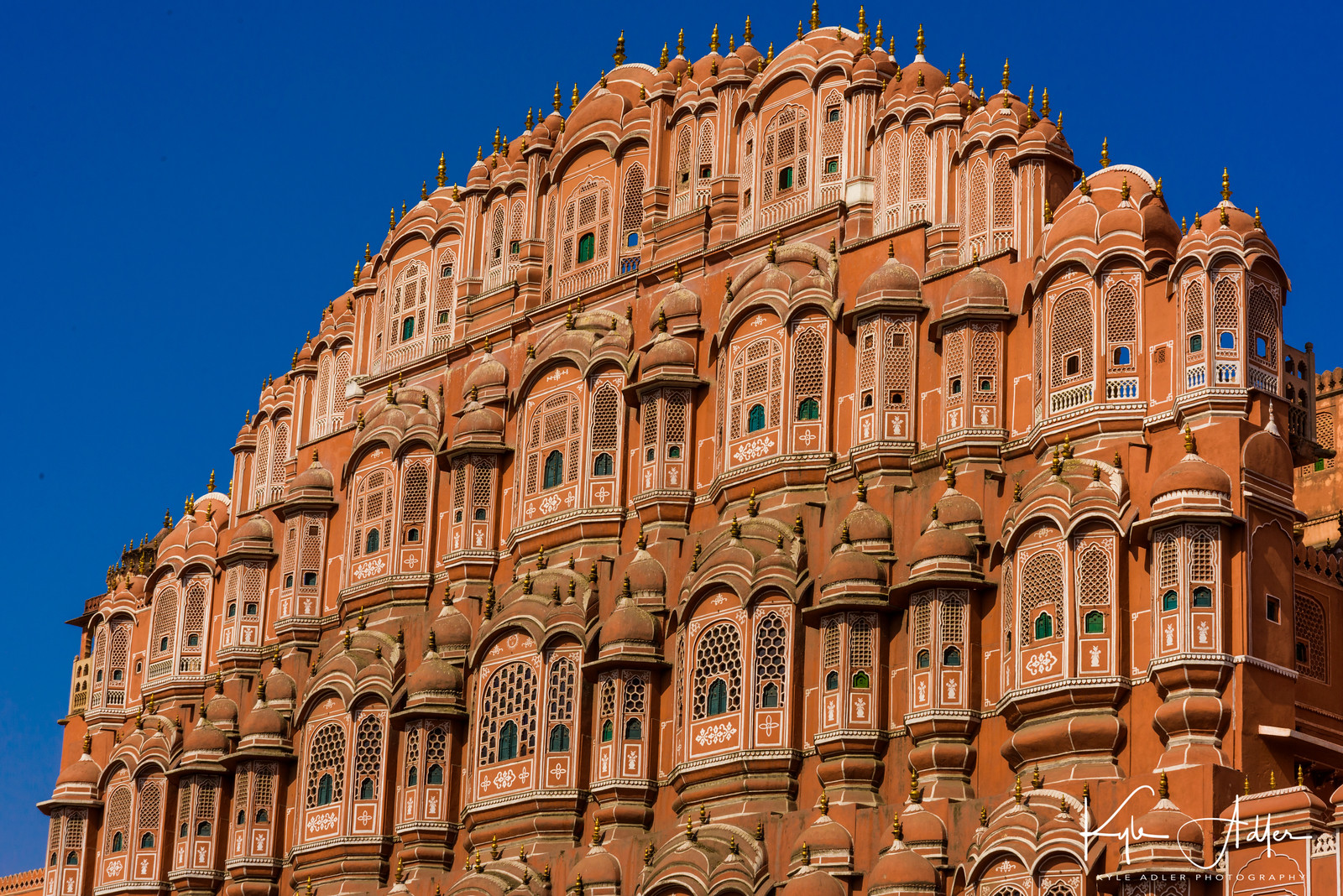 Jaipur's landmark Palace of the Winds provided nearly 1000 windows through which the women of the court could look down on the streets below.