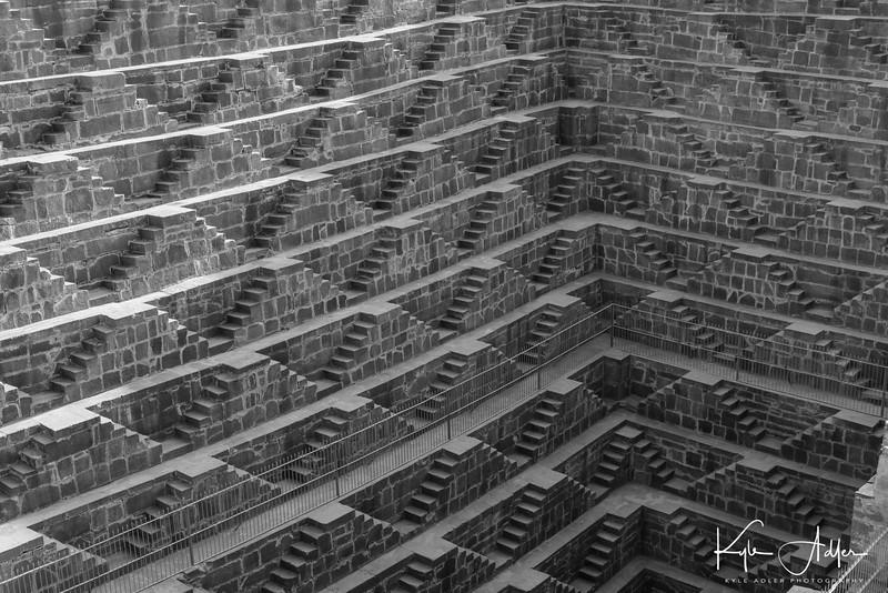 The Abhaneri step-well has an abstract, Escher-esque appearance.