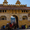 The entrance courtyard of the Amber Fort-Palace, a sprawling 16th century structure.