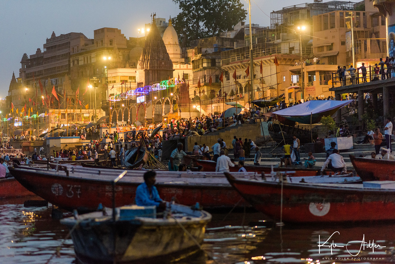 We took a second boat ride, this time in the evening, to witness aarti, the sacred light ceremony in which priests thank the river Ganges for providing purification.
