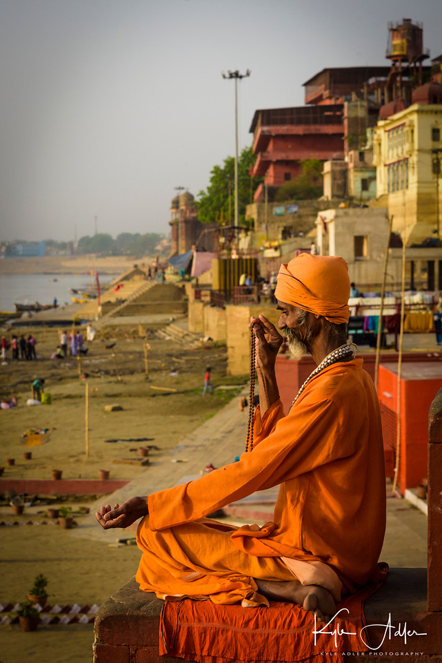 A holy man along the bank of the Ganges River.