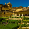 The inner courtyard and gardens of the Amber Fort were designed to cool the environment for the royal family and members of their court.