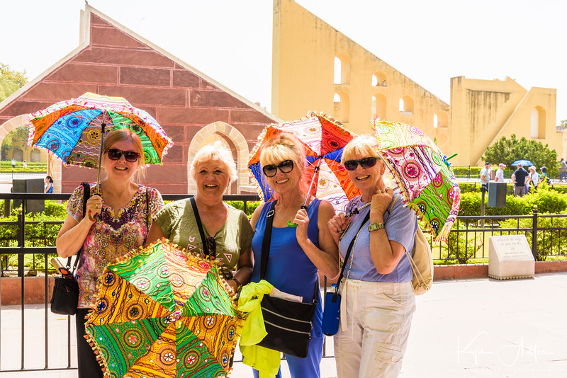 Deidre, Anna, Donna, and Linda sport their new parasols.  This is very practical when the daily high temperatures hovered at 115 degrees Fahrenheit.