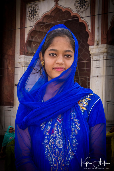 We met this lovely girl at the Jama Masjid, India's largest mosque, and she graciously agreed to pose for a portrait.
