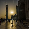 An unusual view of the Taj Mahal at sunset.