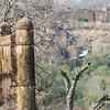 A stork lands on a crag alongside Ranthambore's 1000-year-old fort.