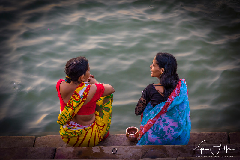 Bathing in the sacred Ganges River.