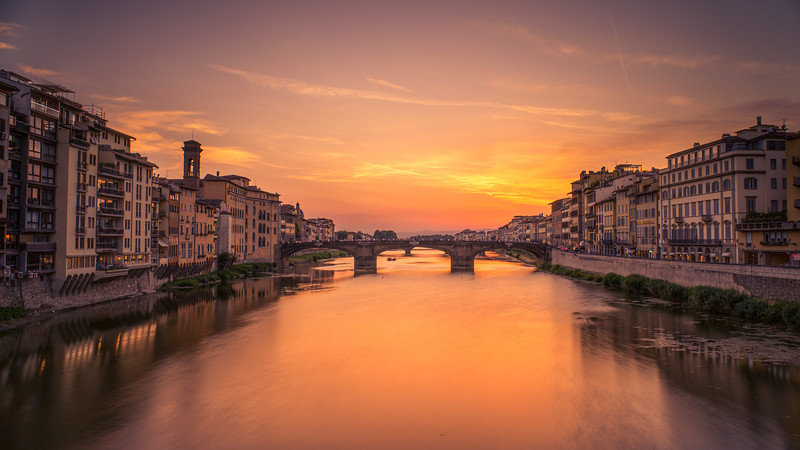 Florence sunset over river Arno, Italy
