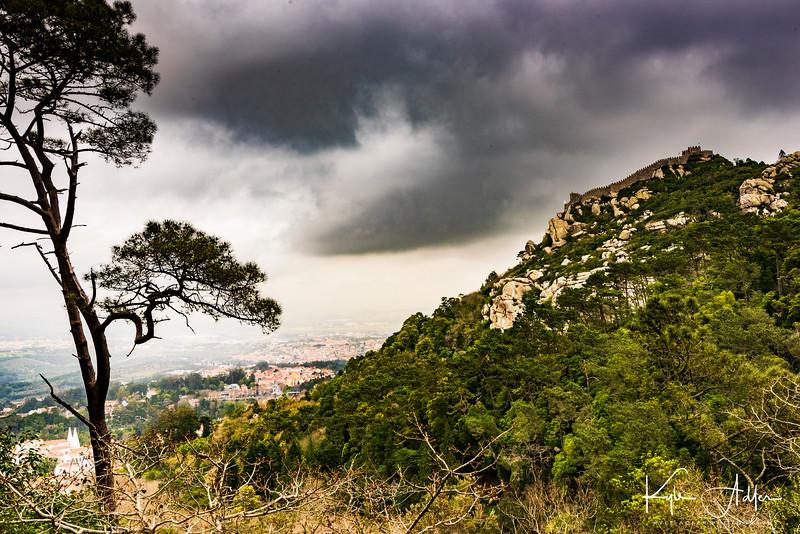 A Moorish castle dominates the hillside above Sintra.