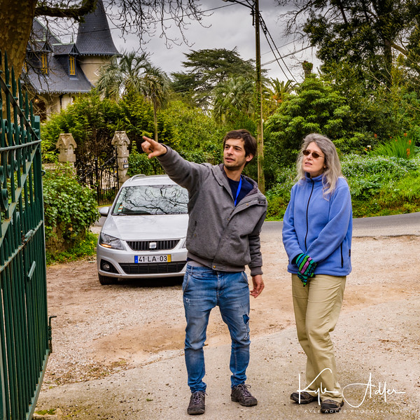 Our intrepid guide Sergio shows Mary around the grounds of an estate.