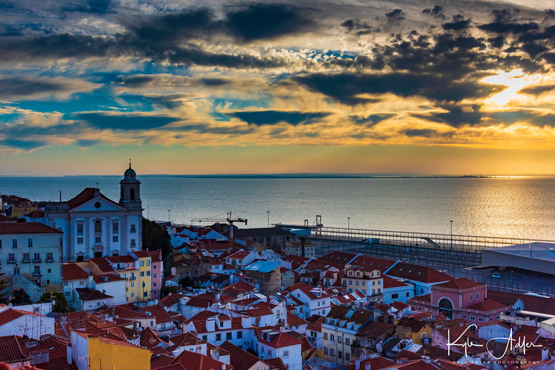On arrival in Lisbon, we are treated to an early morning view of the old Moorish quarter of Alfama.