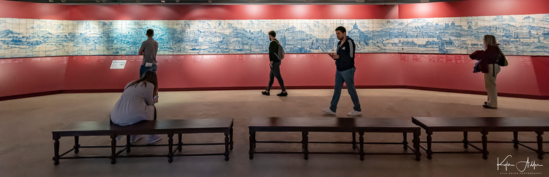 A 360-degree panorama of Lisbon, made entirely of painted tiles, is on display at Lisbon's National Azulejo Museum.