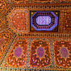 Exquisite inlaid gem work on the ceiling of Bahia Palace in Marrakesh.